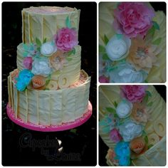 Gorgeous chocolate panels & rice paper flowers Cake