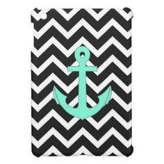Tiffany Mint Blue Chevron anchor pattern iPad Mini Cases