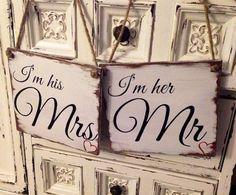 Mr  Mrs wood rustic wedding signs