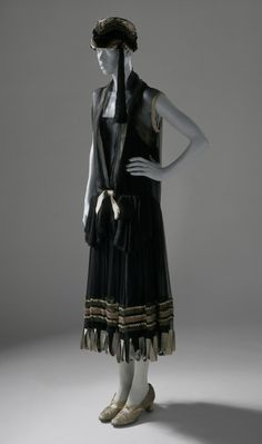 Dinner dress, Poiret, ca. 1924. Silk chiffon trimmed with grosgrain and metallic ribbons and braid. Silk satin underdress. Los Angeles County Museum of Art