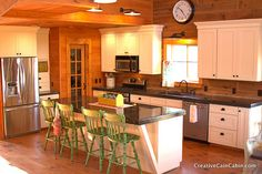 White Cabinets, Log Home, Ikea Clock, Concrete Countertop, Chalk Paint Chairs,