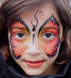 orange butterfly face paint design