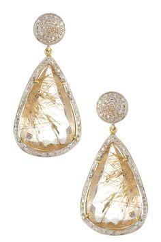 White Diamond Drop Earrings.