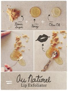 HOW TO: DIY lip exfoliator using items in your pantry.