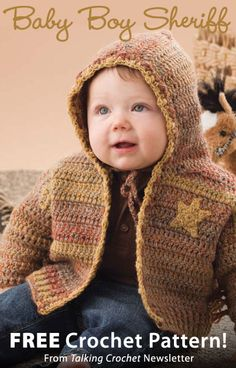 Baby Boy Sheriff Download from Talking Crochet newsletter. Click on the photo to access the free pattern. Sign up for this free newsletter here: AnniesNewsletters.com.