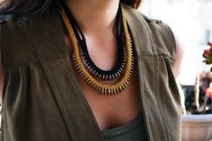 diy crafts, collar, diy necklace, diy jewelry, washer necklace, box braid, necklaces, leather, jewelri