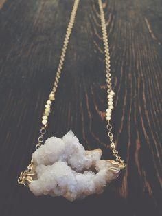 White Geode Druzy Necklace  Raw Crystal Jewelry  by GaudyintheRaw