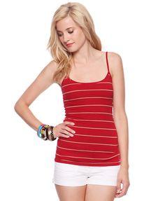 red & tan striped tank