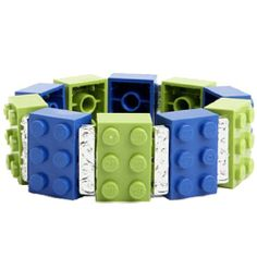 Recycled Lego® Block Bracelet (Blue & Green) block bracelet, bracelets, blue green, legos, bracelet blue, recycl lego, diy, jewelri, blues