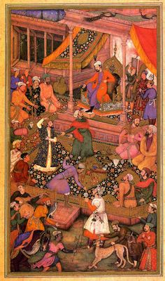 A King in Court  A folio from the Aiyar-e-Danish (A Book of Animal Fables)  Mughal, Reign of Akbar, 1596-7  Painter: Basawan  Size: 24.8 x 13.9 cm  Bharat Kala Bhavan, No. 9065/3