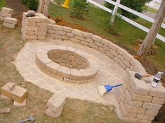 DIY fire pit. DIY fire pit. DIY fire pit. Good idea to seperste the patio from the garden
