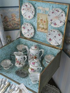 "~~~ Beautiful French Porcelain Service in Original "" Au Bon Marche"" from whendreamscometrue on Ruby Lane"