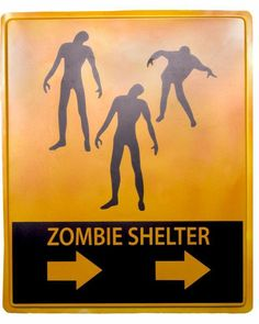 Zombie Shelter Halloween Sign #halloween2013
