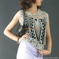 """Fun """"pineapple stitch"""" blouse with diagrams, I just live this one is totally my gypsy style"""