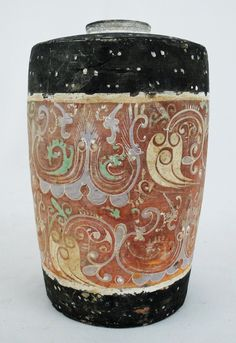Ancient Chinese Han Dynasty Polychrome Decorated Pot Vase 2nd C. BC - 2nd C. AD
