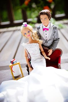 Barbie and Ken looking peaceful after the ceremony