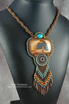 Picture rhyolite  and turquoise necklace by Sue Horine. bead embroideri, 638960 pixel, turquois necklac, bead inspir, sue horin