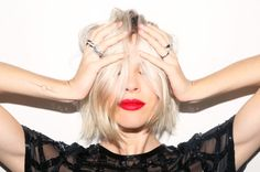 blonde bob platinum blonde, short hair, holiday parties, blond bob, bobs, blondes, red lips, emili weiss, lipstick colors