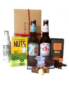 Valentines Day gifts for him including beer, body products, coffee and chocolate.