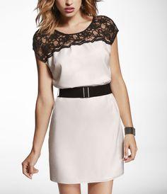 lace color block t-shirt dress via express