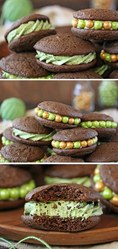Mint Chocolate Chip Whoopie Pies - cakey chocolate cookies filled with ...