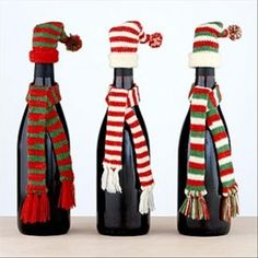 christmas crafts with wine bottles LeAnn could make the hats and scarfs for these cute gifts!