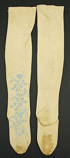 Stockings, late 18th c., Met; embroidery on the top of the foot