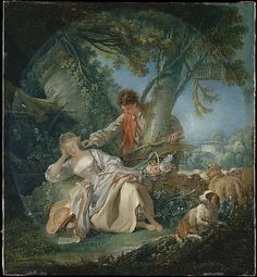 François Boucher (French, 1703–1770). The Interrupted Sleep, 1750. The Metropolitan Museum of Art, New York. The Jules Bache Collection, 1949 (49.7.46) #dogs