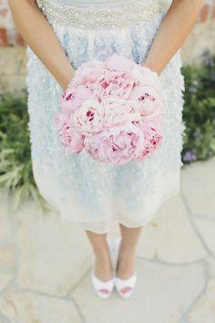 Gorgeous peony bouquet and pale blue Oscar De La Renta wedding dress: http://www.stylemepretty.com/california-weddings/2014/09/15/elegant-backyard-brunch-wedding/   Photography: Onelove Photography - http://www.onelove-photo.com/