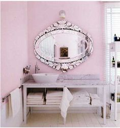 i love every single thing about this bathroom. i want it. that mirror, the vanity, even the color. i want it all.