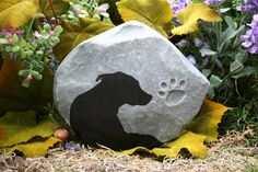 Dog Memorial, Pet Memorial, Custom Hand Painted Silhouette Marker of Your Pet. $39.99, via Etsy.