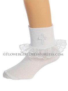 Girls Baptism, Christening and First Holy Communion socks with organza ruffle and Cross design
