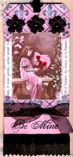 #DIY #crafts #Valentine's Day pink #giftwrapping #gifttag ideas ToniK ⓦⓡⓐⓟ ⓘⓣ ⓤⓟ #vintage #bookmark