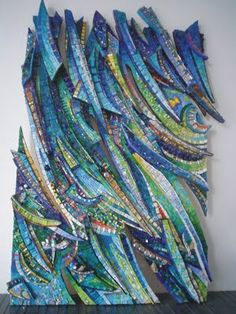 """Risorgiva"" Giulio Menossi. 98 cm x 72 cm 7 10 cm Smalti, glass Stones glasses, ocean waves, glass stone, stones, wave art, mosaic art, giulio menossi"