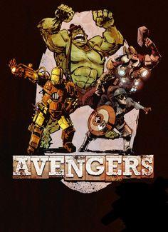 briankesing, aveng assembl, brian kesing, marvel, comic books, art prints, geek side, steampunk aveng, superhero