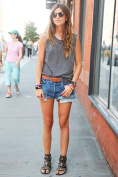 NYC Street Style Denim - New York City Shorts: Vintage  Top: Topshop  Belt: UO  Shoes: Azzedine Alaia  Sunglasses: Garret Leigh