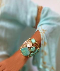 Agate Cuff Bracelet in Aqua Blue & Brown  Color by SharonaNissan, $450.00