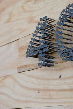 House number made with nails.