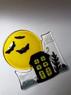 Fused glass Halloween haunted house