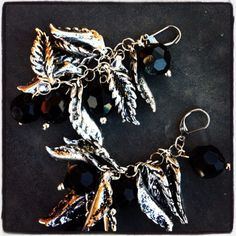Black stone with brushed silver leaves earrings