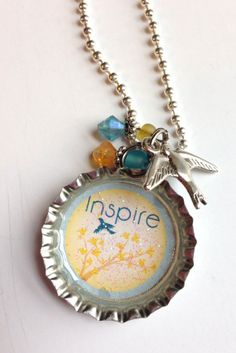 Inspire 2 Bottle Cap Necklace with Silver by BandsBeadsandBling, $7.50