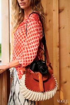 crochet bag and leather