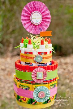 School supply cake at a Kindergarten Graduation Party!  See more party ideas at CatchMyParty.com!