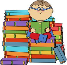Boy superhero surrouned by stacks of books made by MyCuteGraphics