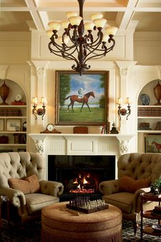 A traditional fireplace and decor