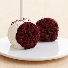 Red Velvet Cake Pops Dipped in White and Topped with Red Velvet Crumbles