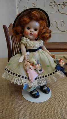 Vtg 1953 Vogue BROWN EYE Ginny Strung Doll #61 CATHY All Original FEVER CHEEKS