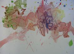 watercolors and saran wrap