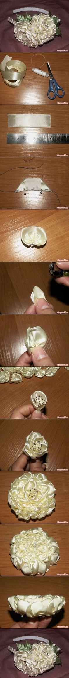 ribbon head, fabric flowers, flower headbands, diy layer, diy ribbon, head band, flower diy, layer ribbon, ribbon flower
