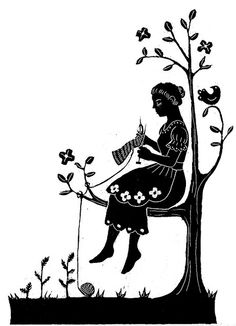woman knitting in a tree